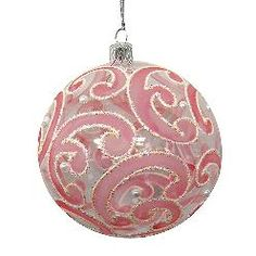 ~ Pink Paisley & White Beads Clear Glass Ball Christmas Ornament ~ Paint your paisley pattern. Let dry completely. Edge w/ craft glue. Sprinkle w/ Clear Glass Beads (Do them in sections so the glue doesn't dry before beading)