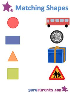 Matching shapes to pictures worksheet.