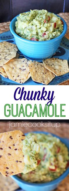 Chunky Guacamole Recipe from Jamie Cooks It Up! Super simple to make this chunky guacamole is bursting with mexican flavor. Side Dish Recipes, Veggie Recipes, Baby Food Recipes, Mexican Food Recipes, Appetizer Recipes, Appetizers, Dip Recipes, Side Dishes, Recipies