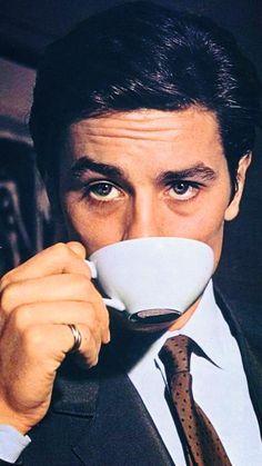 Alain Delon drinking tea. #celebrity #tea