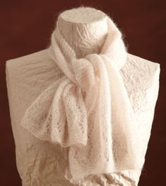 About 11 x 40 in. (28 x 101.5 cm), at widest point. Cloud White Lace Scarf
