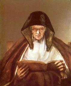 Rembrandt van Rijn ~ Old Woman Reading, 1655