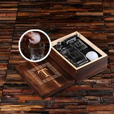 Whiskey Ball, Decanter, Whiskey Glass, Slate Coaster (Ice Ball Maker Mold), with Engraved or Printed World Wood Box