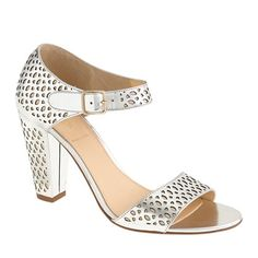 these go under the which one should i get category genre; silver chunky platforms-  @J.Crew Vega metallic perforated sandals $248