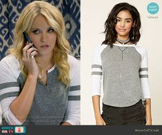 Gabi's grey and white baseball tee on Young and Hungry.  Outfit Details: https://wornontv.net/67415/ #YoungandHungry (altered)