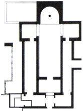 Iglesia de Recópolis, Capital Visigoda (580-90), Guadalajara. Estructura de base paleocristiana, tiene ábside semicircular, tres naves y transepto. Rodeada de dependencias comunicadas entre sí que sirvieron para enterrar a los reyes visigodos. Un extremo se comunicaba con palacio. -Tradición Visigoda