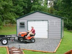 Every backyard needs a metal garage building like this one. Keep your lawn equipment and other valuables safe  and provide protection from the elements at the same time!