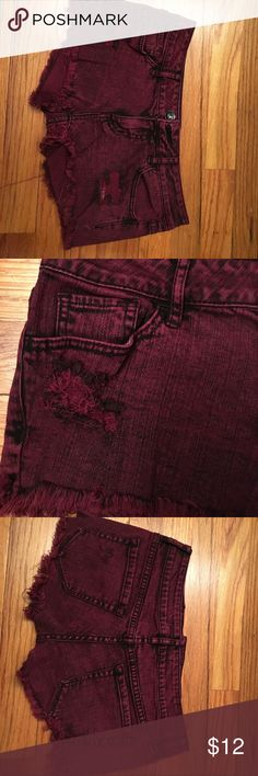 Bullhead Black Shorts Maroon Denim Short Shorts Size 1 Bullhead Shorts Jean Shorts