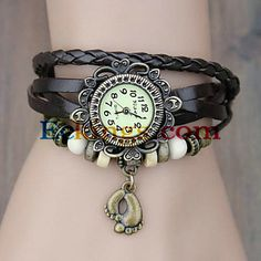 Women's Vintage Foot Pendant Style Leather Band Quartz Analog Bracelet Watch (Assorted Colors) : Online Shopping for Watches, Toys & more