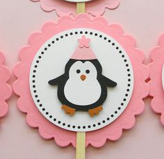 handmade PENGUIN birthday cupcake toppers by plumcakeparties, $9.95