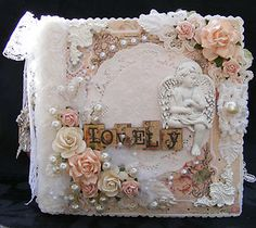 SHABBY CHIC STYLE  ALBUM PRIMA ANGEL ANGELS PAPER PIECING SCRAPBOOKING by Toni