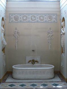 Napoleon's Bathroom designed by Italian architect Giuseppe Cacialli in the Palazzo Pitti in Florence, Tuscany, Italy French Bathroom, Bathroom Spa, Small Bathroom, Master Bathroom, Washroom, Spa Interior, French Interior, Bathroom Interior, Interior Design