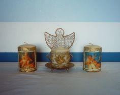 Angel candles & holder