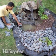How to Build a Low-Maintenance Water Feature Construct a simple (in one-weekend!) stone & gravel fountain that needs almost no maintenance: shown is the last step - decorate the fountain