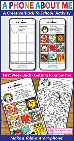This 'All About Me Phone' art and writing activity is an easy back to school art activity for the classroom. A great lesson plan for 4th, 5th, 6th, 7th grade teachers to use as a fun first week back getting to know you resource, encouraging team building and learning. The finished coloring pages make great displays for bulletin boards and open house. Click the 'visit' button to view this detailed teacher resource in full. #backtoschool