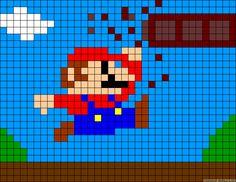 Mario scene perler bead pattern
