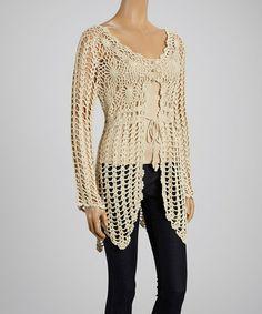 Another great find on #zulily! Beige Crochet Tie-Waist Sidetail Top #zulilyfinds