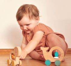 These sturdy, solid beech wood push toys from Petit Collage all have smooth wheels and simple easy-to-grasp animals to encourage active play. Pull Along Toys, Eco Friendly Cleaning Products, Push Toys, 1st Birthday Gifts, Modern Toys, Eco Friendly Toys, Non Toxic Paint, Chunky Beads, Wood Construction