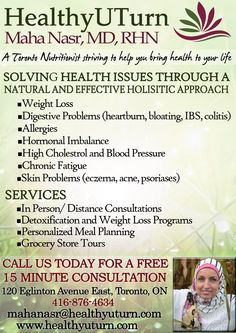 Healthy U Turn-Maha Nasr, MD, RHN  A Toronto Nutritionist striving to help you bring health back to your life
