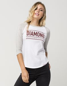 "Diamond Supply Co. Subtitle raglan tee. Features a Diamond graphic with Simplicity is the Key to Brilliance screened below. Contrasting 3/4 heathered raglan sleeves. Curved hemline with a Diamond tag. 100% cotton. Machine wash. Imported.   <BR><BR>Model is wearing a size small. Model measurements:<BR>Height: 5'9""<BR> Bust: 32""<BR>Waist: 23""<BR>Hips: 34"""