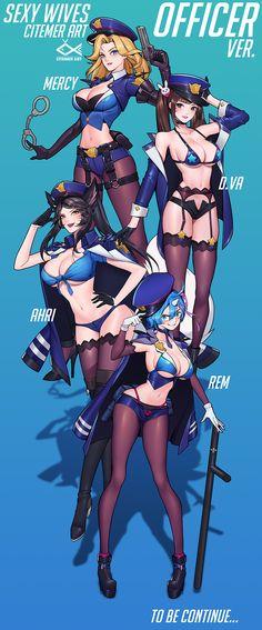 Officer Ahri D.Va Mercy Rem - More at https://pinterest.com/supergirlsart #lol #overwatch #rezro #re #zero #leagueoflegends #hot #sexy #fanart #girls