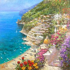"""Marko Mavrovich Handsigned and Numbered Limited Edition Giclee on Canvas:""""Positano"""" Artist:Marko Mavrovich Title:""""Positano"""" Image Size: x Edition:Artist Hand Signed and Numbered Limited Edition to 95 Medium:Embellished G The Places Youll Go, Places Ive Been, Southern Europe, Thomas Kinkade, Beautiful Places To Travel, Positano, Scenery, To Go, The Incredibles"""