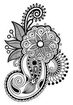 black line art ornate flower design, ukrainian ethnic style, autotrace of hand drawing photo