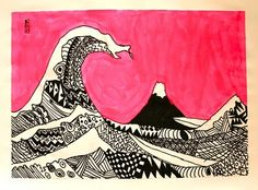 """* students learned about the history behind Hokusai's Great Wave wood block print. We talked about the significance of Mt. Fuji in the background and what it must have been like to be on one of the three boats. Then, using the tGreat Wave as our basis, the students created a Zentangle of repeated patterns using Sharpie markers. The back ground was painted with neon paint"""""""