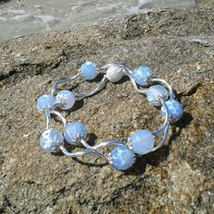 Faceted Agate Beaded Necklace Light Blue Bead Choker Natural