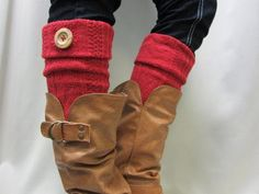 Red Boot Cuffs Boot Toppers Cable Knit