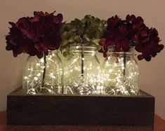 Rustic Mason jar Christmas centerpiece, rustic Christmas decor, Christmas decorations, fairy lights, Mason jar with fairy lights