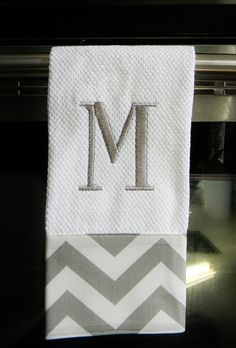 Grey and White Chevron Monogrammed  Dish Towel. $13.50, via Etsy.