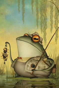 Frog Fisherman by Bill Mayer Funny Frogs, Cute Frogs, Frog Illustration, Frog Pictures, Frog Art, Frog And Toad, Reptiles And Amphibians, Character Concept, Beautiful Creatures
