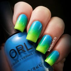 #ombre #neon #greens