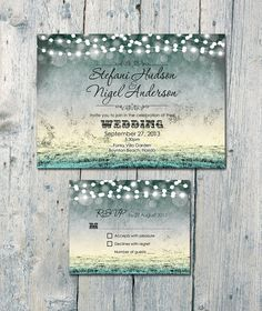Festive Garden and Shimmering Lights Wedding Invitation and Reply Card Set - we can recreate this for you!