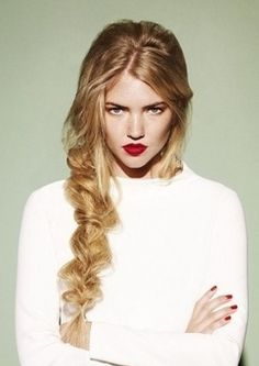 We love this messy braid with bold red lips!