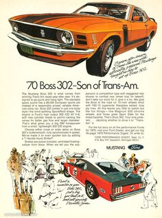 1970 Ford Mustang Boss 302 - Son of Trans-Am - Original Ad