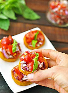 Serve Sweet Potato Bruschetta at your summer dinner party with this healthy bite-sized appetizer recipe.