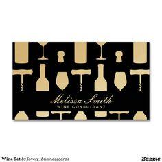 Wine Set Standard Business Card #wine #vineyard #sommelier #winery #corkscrew #winetasting #wineexpert #wineconnoisseur #wineglass #winebottle #cork #gold #tastingtours