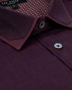 YURMATE - Collar detail shirt - Red | Men's | Ted Baker UK