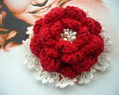 Hand Crochet Red Cashmere and White Cotton Flower Corsage Brooch