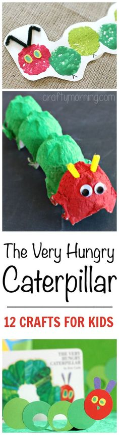 The Very Hungry Caterpillar: 12 Crafts for Kids - The Realistic Mama The Very Hungry Caterpillar themed crafts and activities for kids! If you really like arts and crafts you will appreciate our info! Craft Activities For Kids, Toddler Activities, Projects For Kids, Preschool Activities, Crafts For Kids, Book Activities, Craft Ideas, Eric Carle, Daycare Crafts