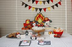 SAVE 20% Handmade Fire Truck Party PACKAGE - Red Fire Truck/Engine, Dalmatian Dog, Fire Flames - First Birthday - Fireman Celebration