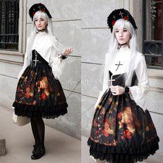 Customized Oil Painting Girl Printing Lolita Black Chiffon Braces Dress