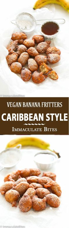 Banana Fritters Make these melt in your mouth Vegan Caribbean Banana Fritters. And watch it disappear! Simple and Delicious!Make these melt in your mouth Vegan Caribbean Banana Fritters. And watch it disappear! Simple and Delicious! Brownie Desserts, Oreo Dessert, Mini Desserts, Coconut Dessert, Tropical Desserts, Vegan Breakfast Recipes, Vegan Recipes, Dessert Recipes, Cooking Recipes