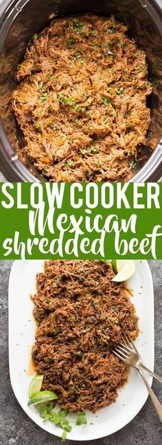 This all purpose Slow Cooker Mexican Shredded Beef is great for tacos, burritos and more! Quick and easy prep work and the crock pot does the rest.
