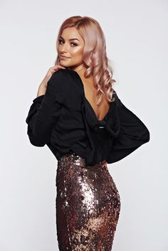 PrettyGirl black women`s blouse elegant with cut back allure of satin, easy cut, cut back, oversized bow on the back, allure of satin, airy fabric, elastic held sleeves, long sleeves