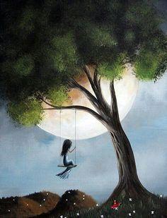 columpiandose con la luna