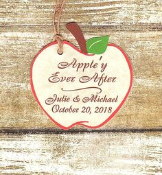 Apple'y Ever After/Wedding Favor Tags/Apple Shaped tag/Apple wedding favor tag/Caramel Apple favor/Fall wedding favor tag/Apple'y Married