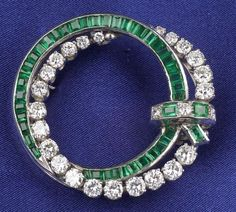 Platinum, Diamond, and Emerald Brooch